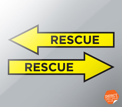 RESCUE ARROW DECALS - Pair