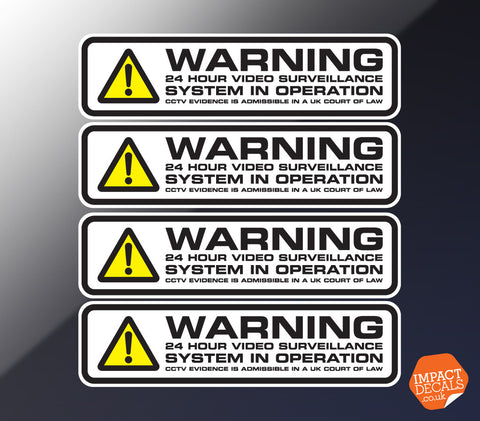 24 Hour Video Surveillance Decal #1 - Set of 4