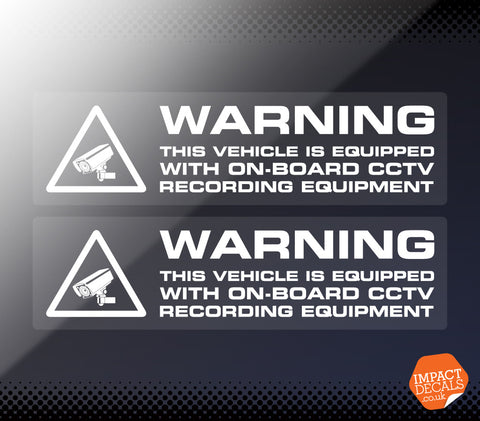 Warning Vehicle Equipped with CCTV Recording Equipment Decal - Pair