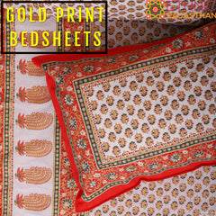 gold print bedsheets