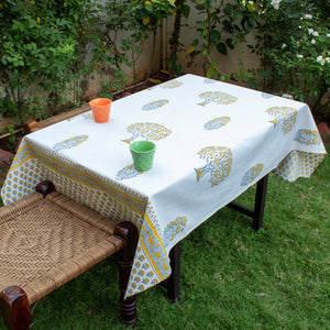 Cotton Coffee Table Cover Yellow Grey Mango Tree Block Print