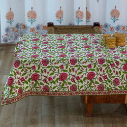 Cotton Coffee Table Cover Pink Green Floral Jaal Print