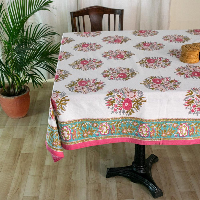 Fine Cotton 8 Seater Table Cover White Pink Guldasta Block Print