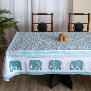 Cotton 8 Seater Table Cover Green Grey Floral Jaal Block Print
