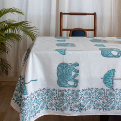 Cotton Table Cover Turquoise Elephant Block Print