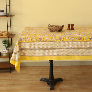 Cotton 8 Seater Table Cover Pink Yellow Floral Block Print