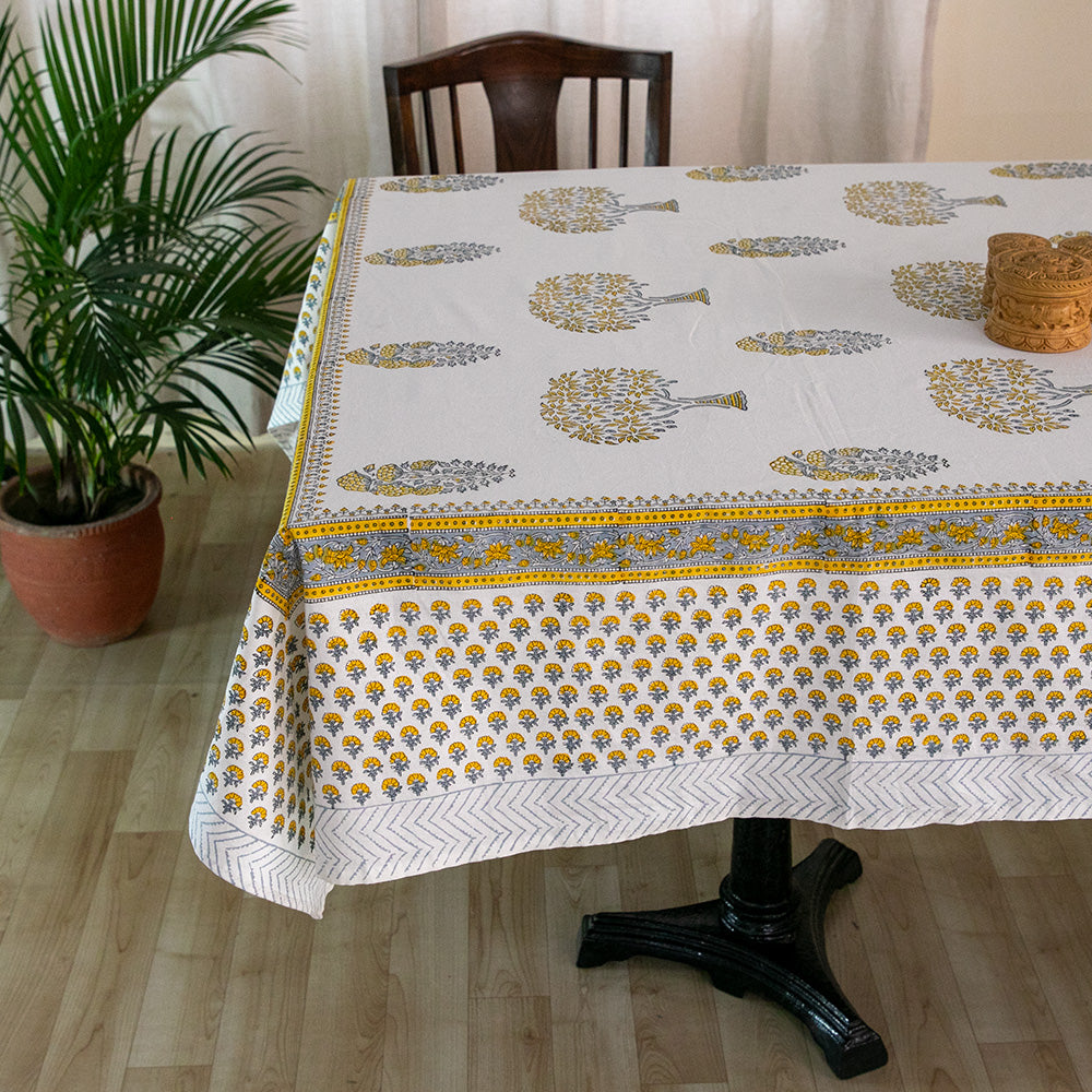 Cotton 8 Seater Table Cover Yellow Grey Mango Tree Block Print