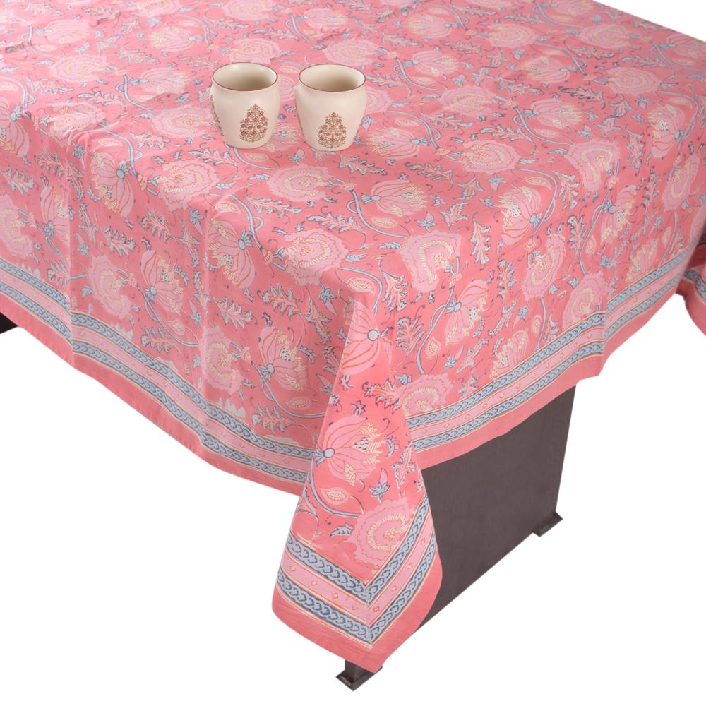 Fine Cotton Six Seater Table Cover Pink Floral Jaal Block Print