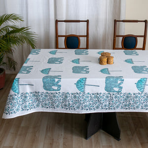 Cotton 6 Seater Table Cover Turquoise Elephant Block Print