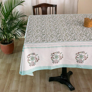 Fine Cotton 6 Seater Table Cover Light Green Floral Jaal Block Print