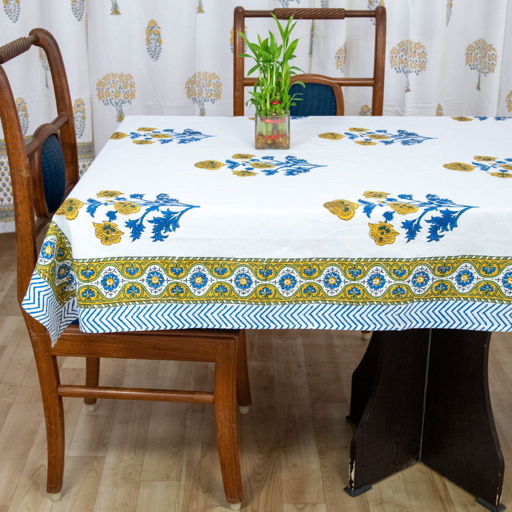 Cotton 6 Seater Table Cover Orange Blue Floral Boota Block Print