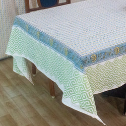 Cotton Table Cover Yellow Blue Leheriya Block Print