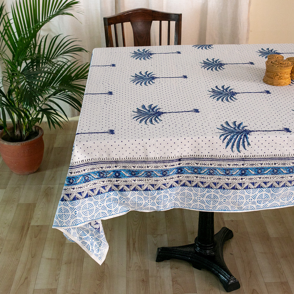 Cotton 6 Seater Table Cover Blue Palm Tree Boota Block Print