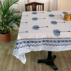Cotton Table Cover Blue Palm Tree Boota Block Print