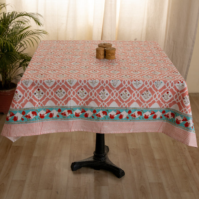 Cotton 4 Seater Table Cover Peach Mughal Jaali Block Print