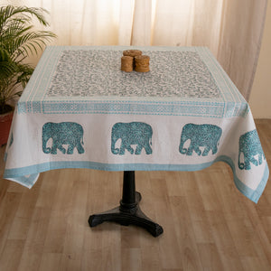 Cotton 4 Seater Table Cover Green Grey Floral Jaal Block Print
