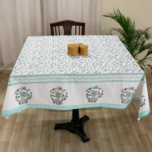 Fine Cotton 4 Seater Table Cover Light Green Floral Jaal Block Print