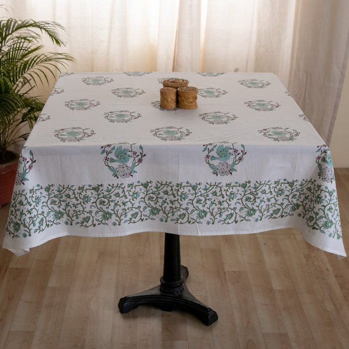 Cotton 4 Seater Table Cover Light Green Bird Block Print