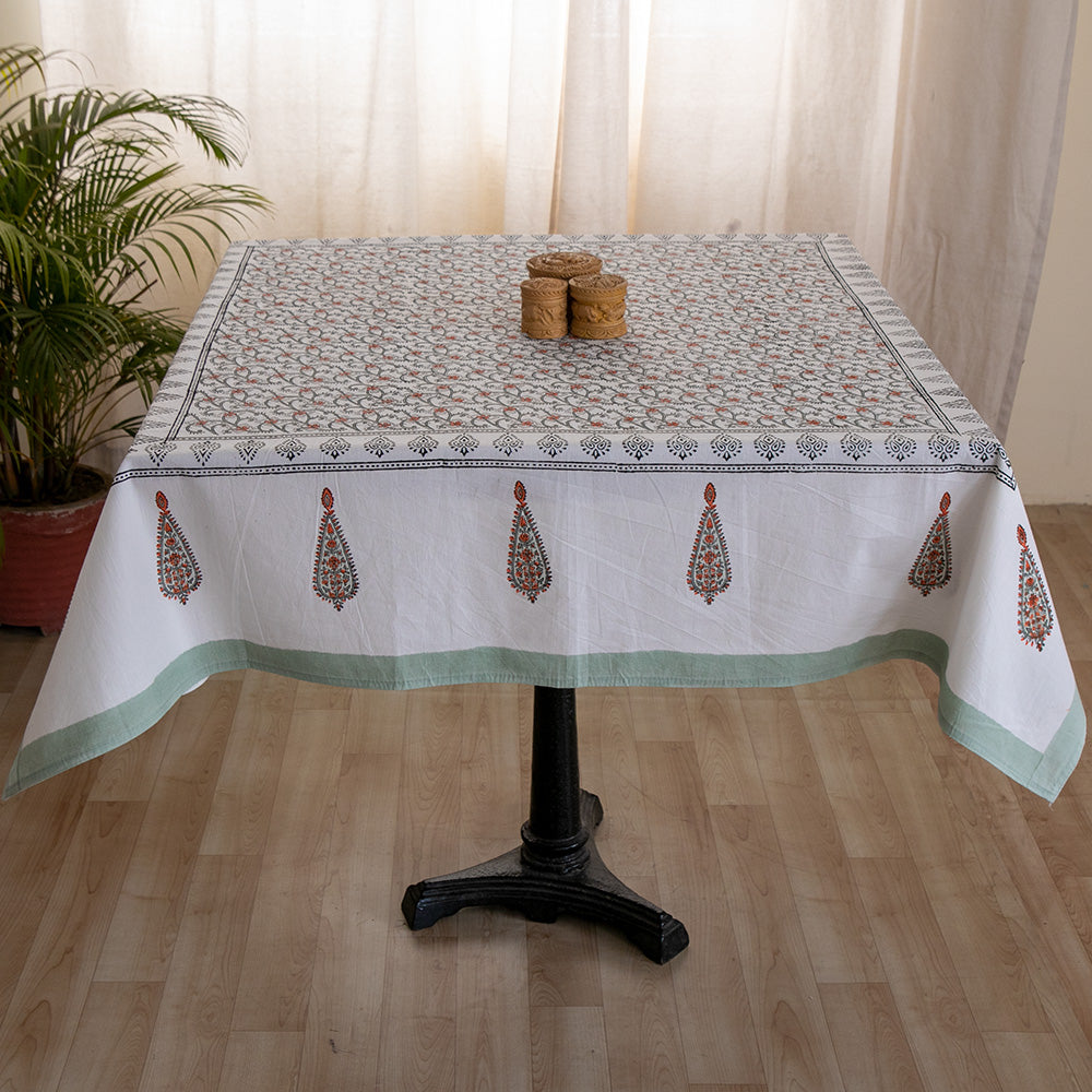 Cotton 4 Seater Table Cover Grey Orange Floral Jaal Block Print
