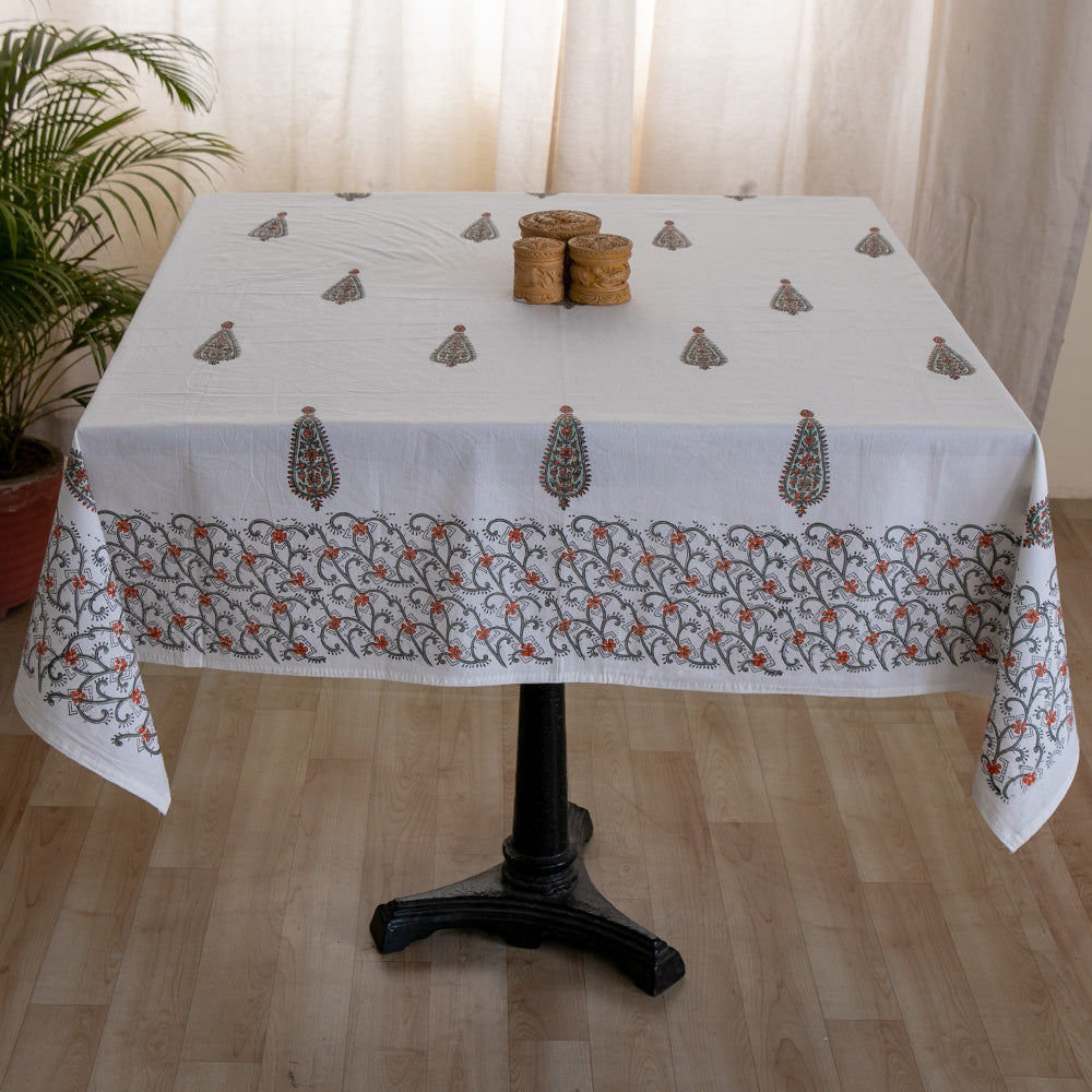 Cotton 4 Seater Table Cover Grey Orange Tilak Boota Block Print