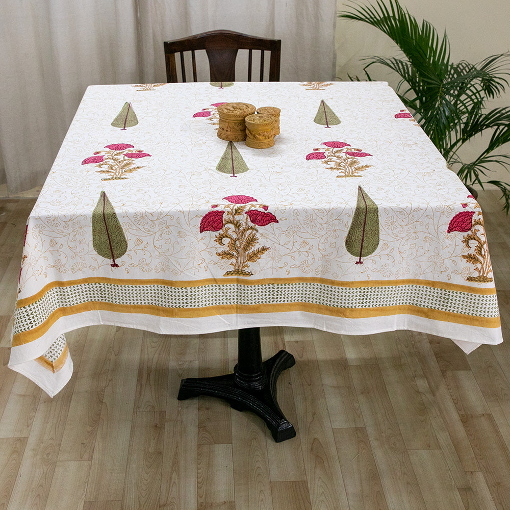 Cotton 4 Seater Table Cover Pink Brown Floral Boota Block Print