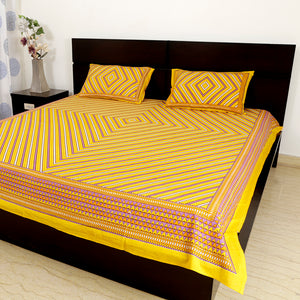 Cotton Double Bedsheet Yellow Geometric Print 1