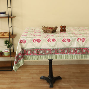 Cotton Eight Seater Table Cover Green Pink Floral Boota Block Print