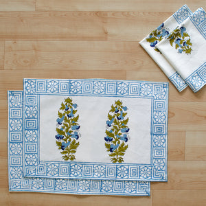 Canvas Table Mat and Napkin Set Blue Brown Floral Boota Block Print