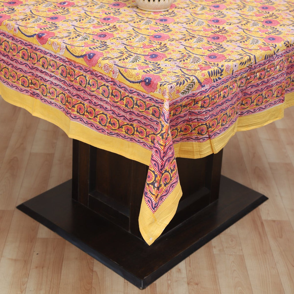 Fine Cotton 4/6 Seater Table Cover Yellow Pink Foral Block Print