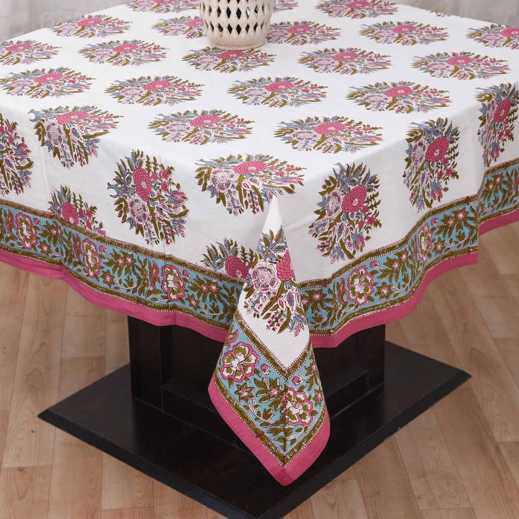 Fine Cotton 6 Seater Table Cover White Pink Guldasta Block Print