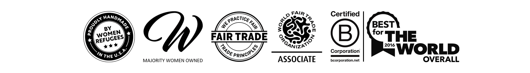 Fair Trade WFTO, women owned, best for the world and B-Corp certification for Propserity Candle with soy blend candles handmade by women artisan refugees