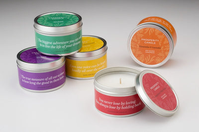 Springtime Quote Candles - Prosperity Candle handmade by women artisans fair trade soy blend candles