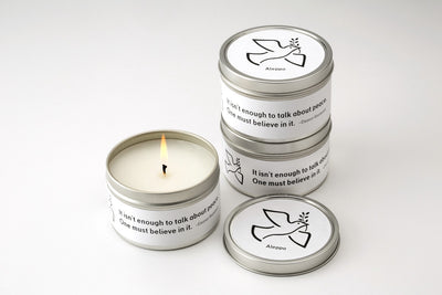 Fair trade soy blend candles, lit, handmade by women artisan supporting refugees and Syrians in Aleppo