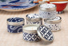 Blue and White Japanese Candles - ethically made candles handpoured by women artisans at Prosperity Candle Wholesale
