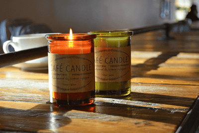 Cafe Candle with coffee scent in coconut and soy wax handmade by women artisans in the U.S. fair trade and ethically made