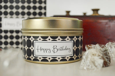 Happy Birthday Candle - soy blend, fair trade Greeting Card candles handmade in the U.S. using quality ingredients.
