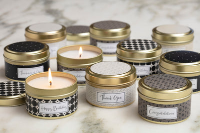 Greeting Card Candle Collection - soy blend, fair trade and handmade in the United States using quality ingredients.