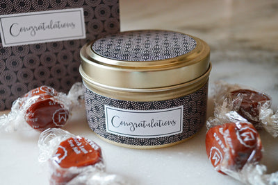 Congratulations Greeting Card Candle - soy blend, fair trade and handmade in the United States using quality ingredients.