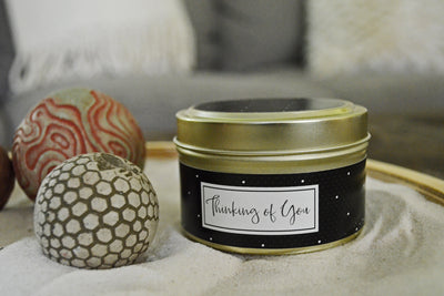 Thinking of You Greeting Card Candle - soy blend, fair trade and handmade in the United States using quality ingredients.