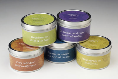 Be Inspired Travel Tin - Prosperity Candle handmade by women artisans fair trade soy blend candles