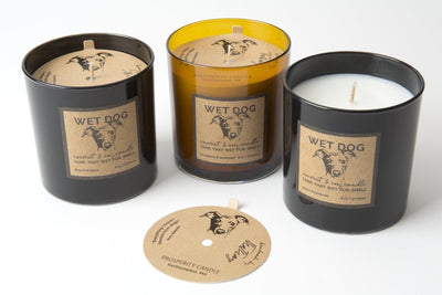 Wet Dog scented soy blend fair trade candles handmade by women artisans in the U.S. for taming the smell of a dog