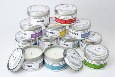 Stacked Zodiac Candles fair trade soy blend ethically handmade by women artisans at Prosperity Candle supporting refugees