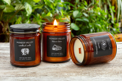 Pioneer Valley Candles - soy blend candles handmade by women artisan refugees in the U.S. with cedar and tobacco leaf, socially responsible