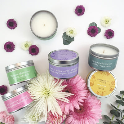 Summer Inspiration Quote Candles - Prosperity Candle handmade by women artisans fair trade soy blend candles