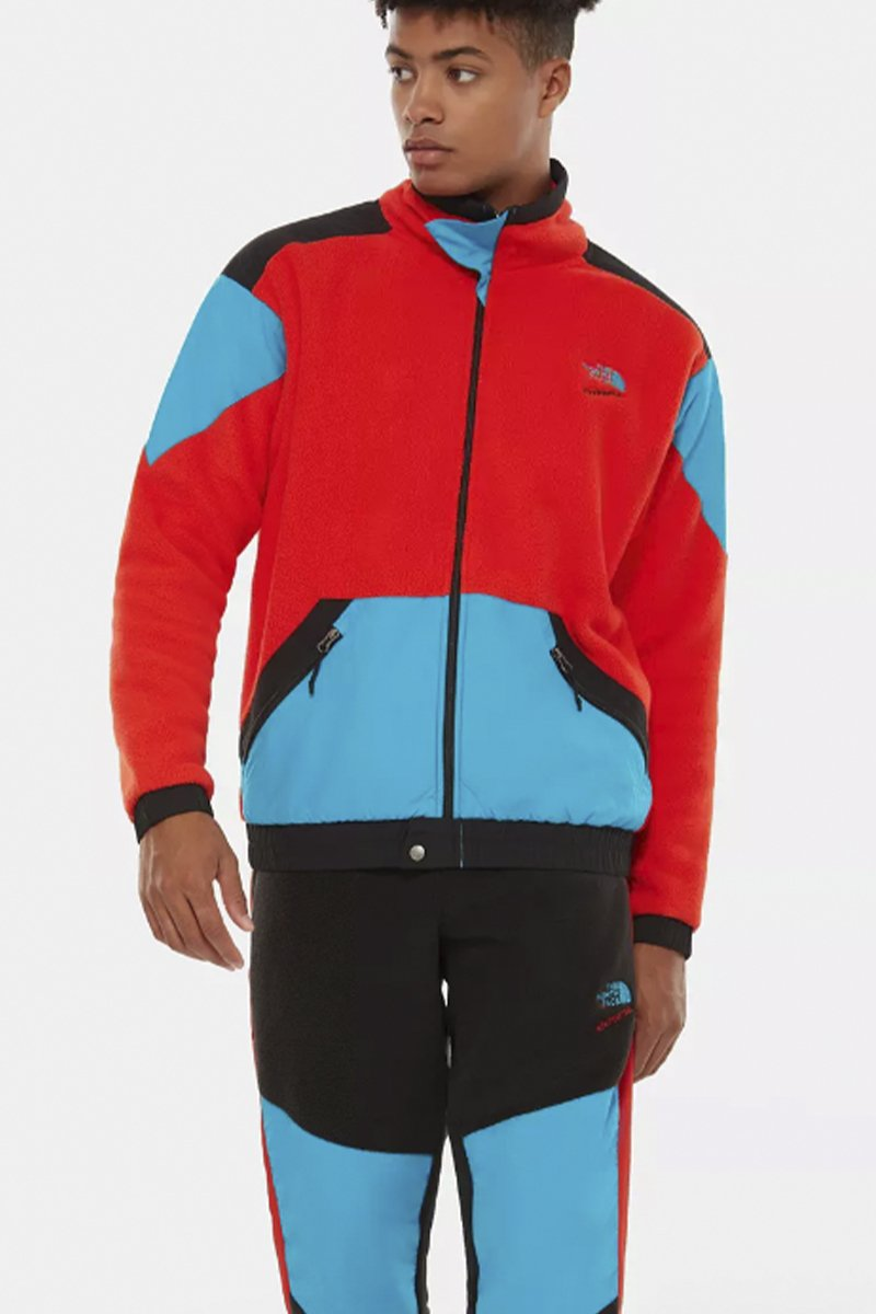 The North Face - Rote Extreme Fleece Jacke mit hellblauen Nylon Patches - NF0A4AGKLKD1