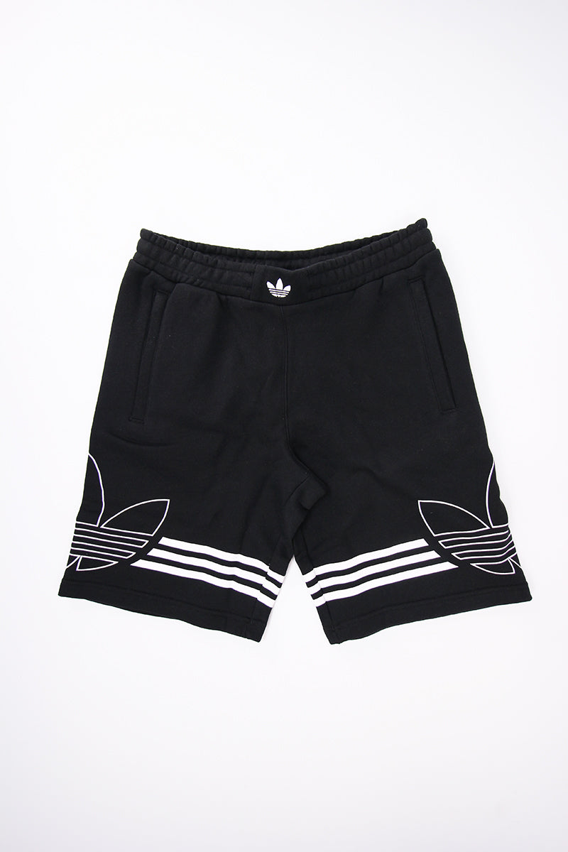 Adidas - Shorts Outline with white Trefoil Logo and 3 Stripes (Black) DU8135