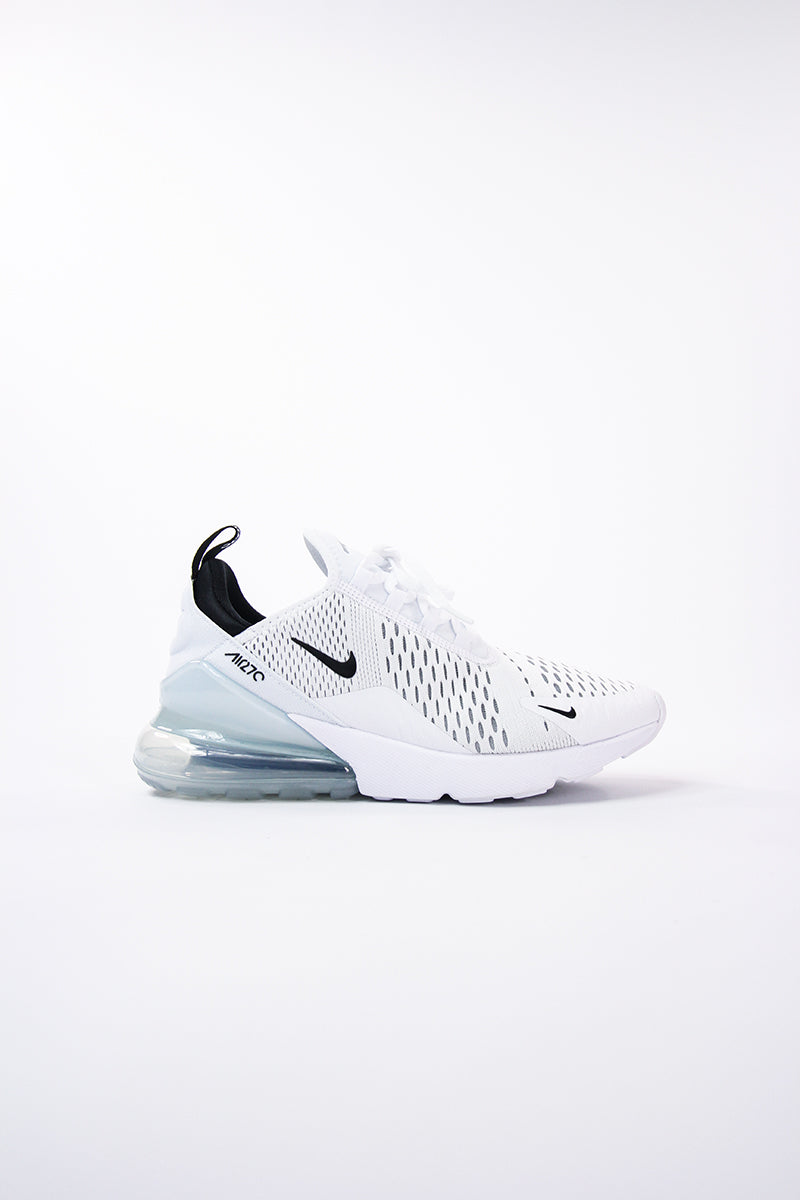 Nike Air Max 270 Tomaia bianca Mini swoosh nero alta tecnologia Air bubble grande AH8050 100