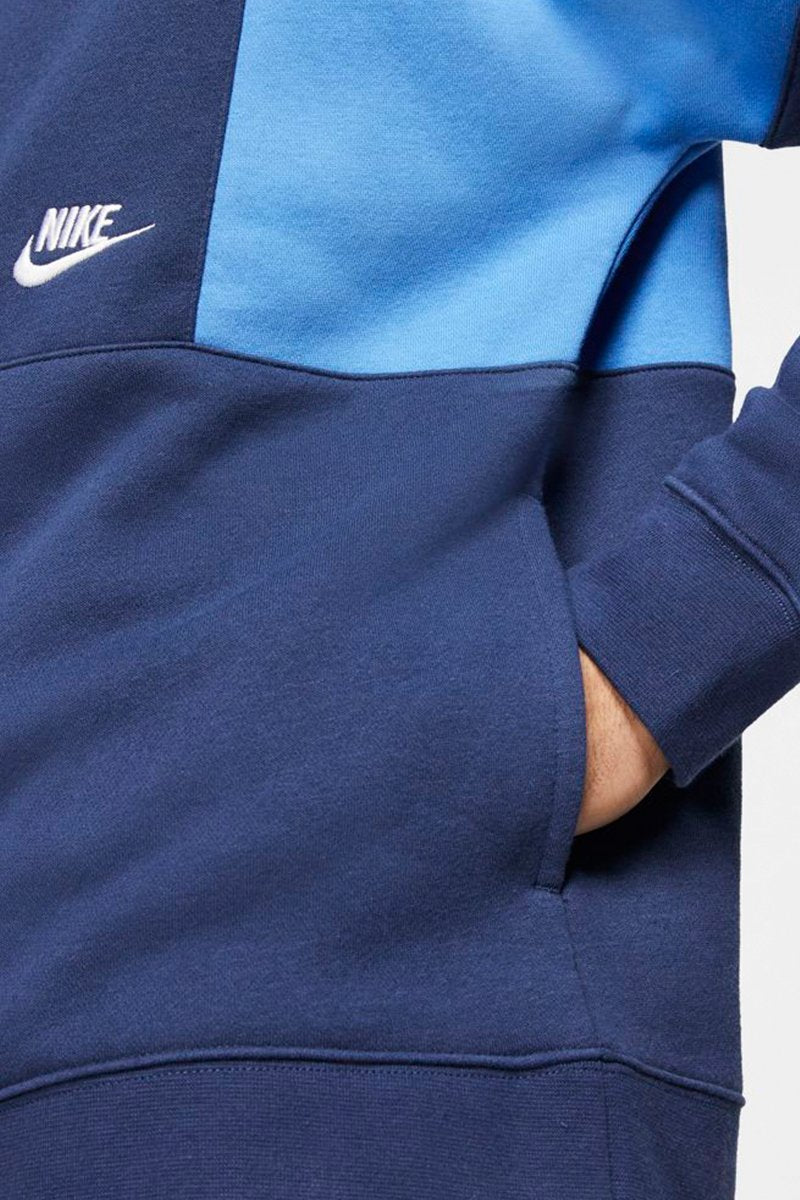 Nike - Drop Shoulder Hoodie in Nachtblau mit Blockmuster - CK4543-480