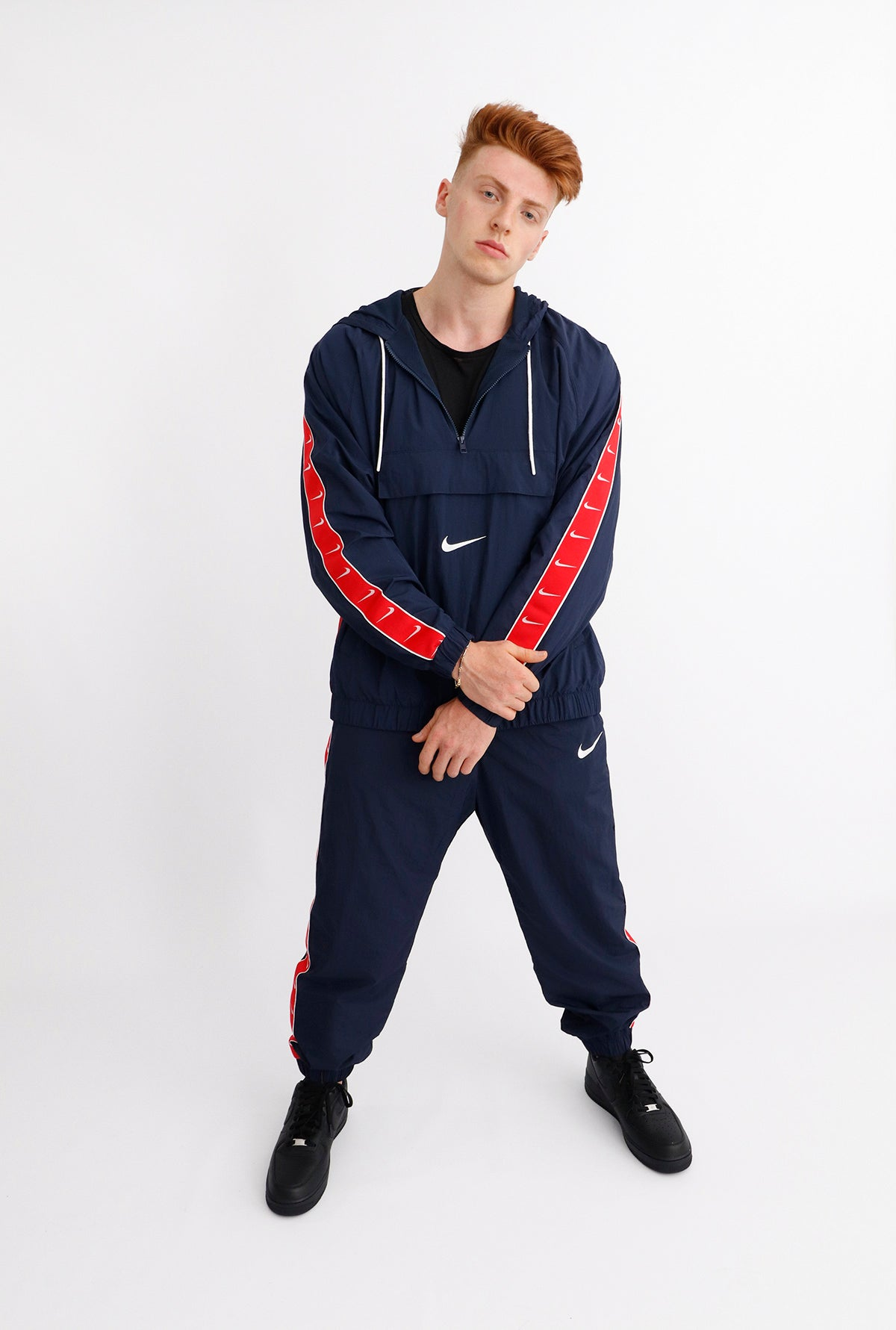 Nike - Sportswear Swoosh Jacket (Obsidian/ White/ University Red/ White) CD0419-451