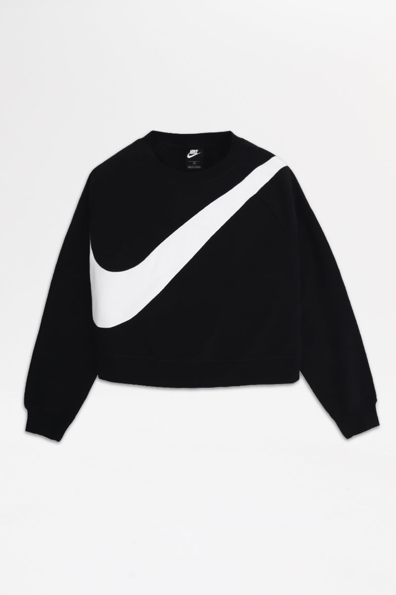 Nike - Sportswear Swoosh Fleece Crew Womens (Black/ White) CJ7727-010